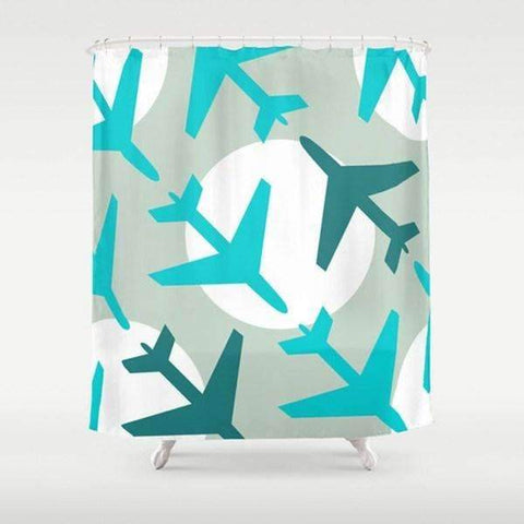 Airplanes Blue Shower Curtain - TheGretest