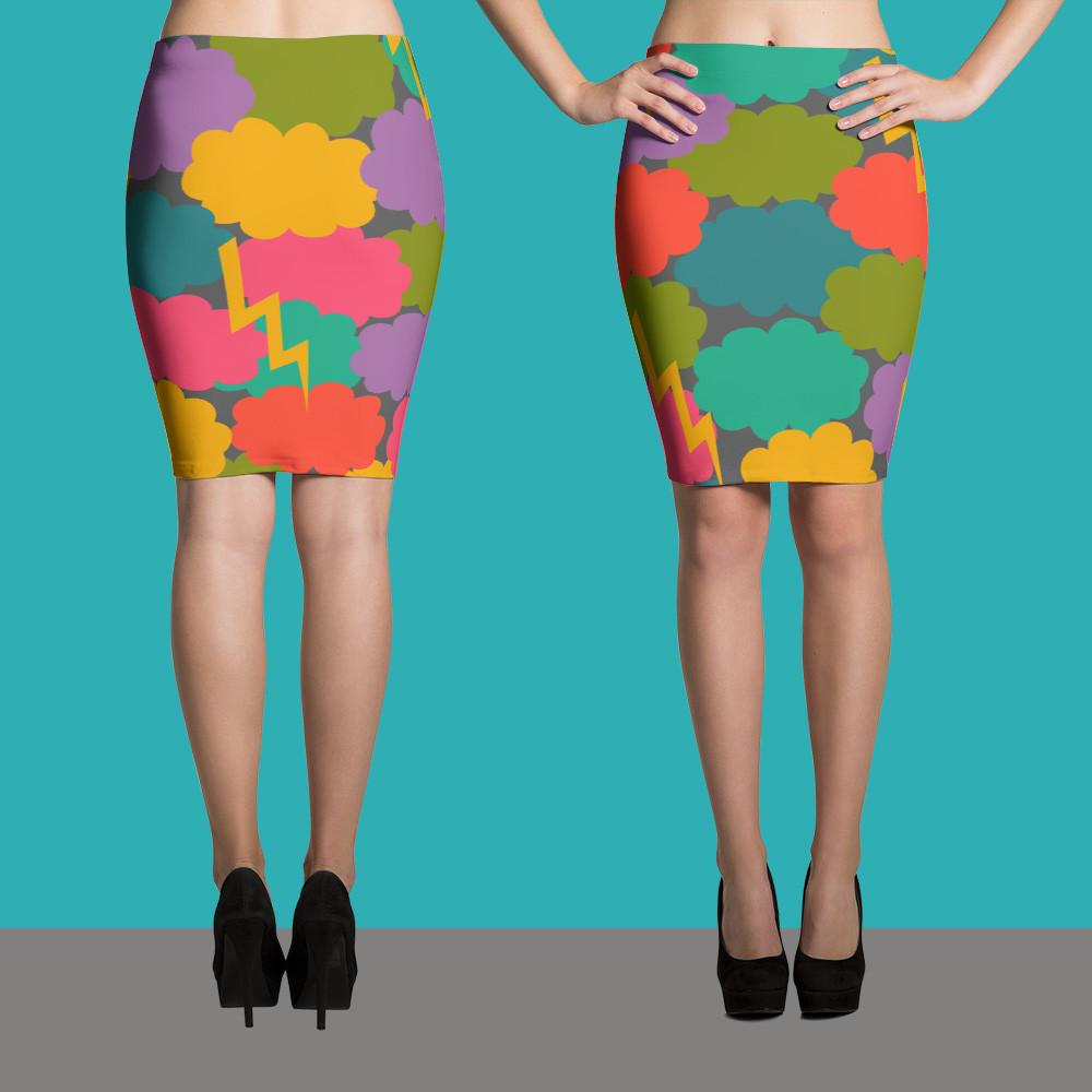 Clouds Pencil Skirt - Modern Skirt - Designer Skirt-TheGretest