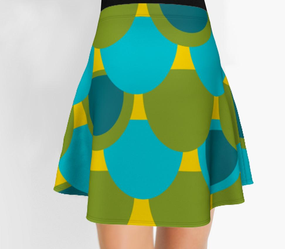Green and blue Skirt - Flare Skirt - Modern Skirt - Designer Skirt-TheGretest