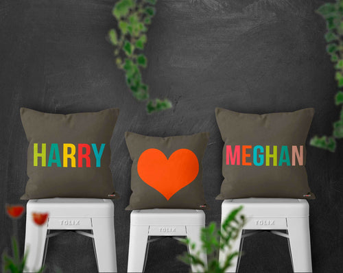 Three customizable pillows for couples