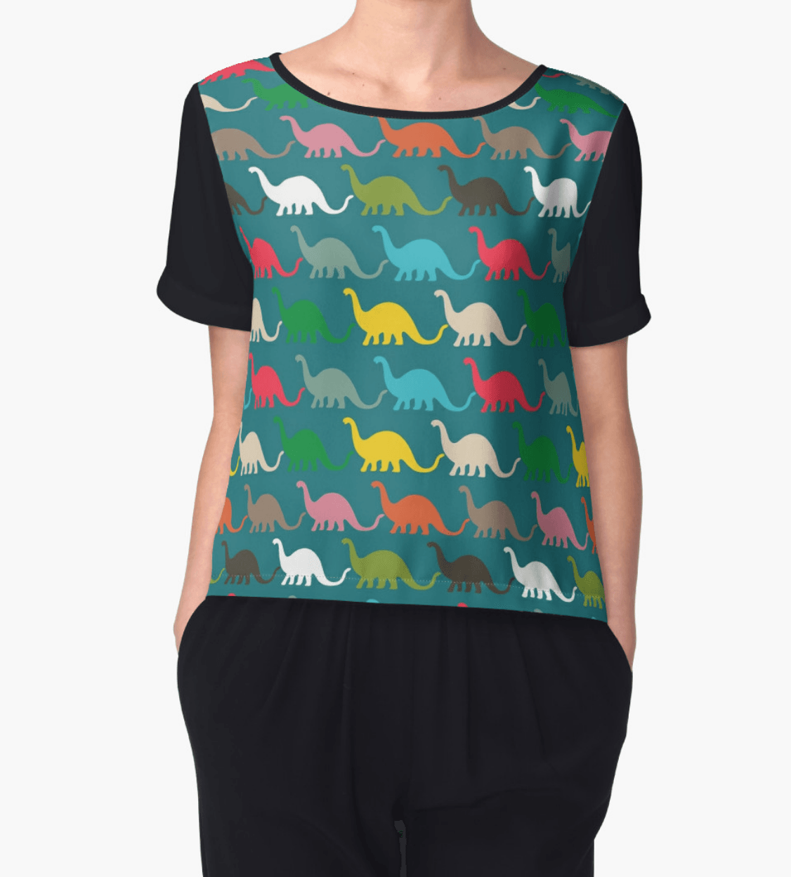 Dinosaurs top - Chiffon Tops - Women Blouse - Modern Clothing-TheGretest