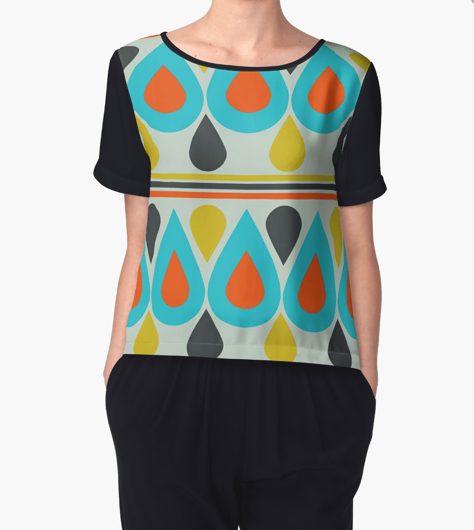 Drops Chiffon Top - Colorful Clothing - Modern Top-TheGretest