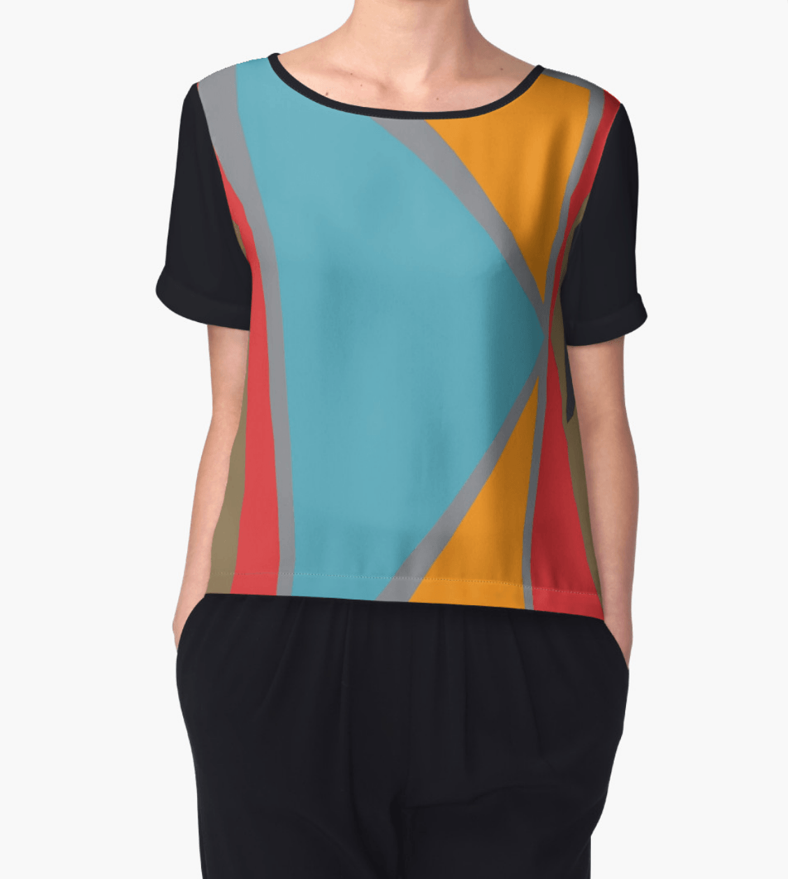 Geometric Tops - Chiffon Top - Women Blouse - Modern Clothing-TheGretest