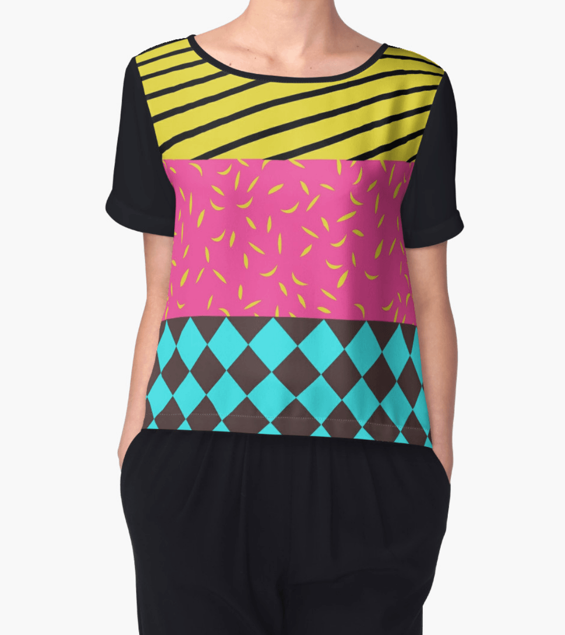 Mixed patterns top - Chiffon Top - Women Blouse - Modern Clothing-TheGretest