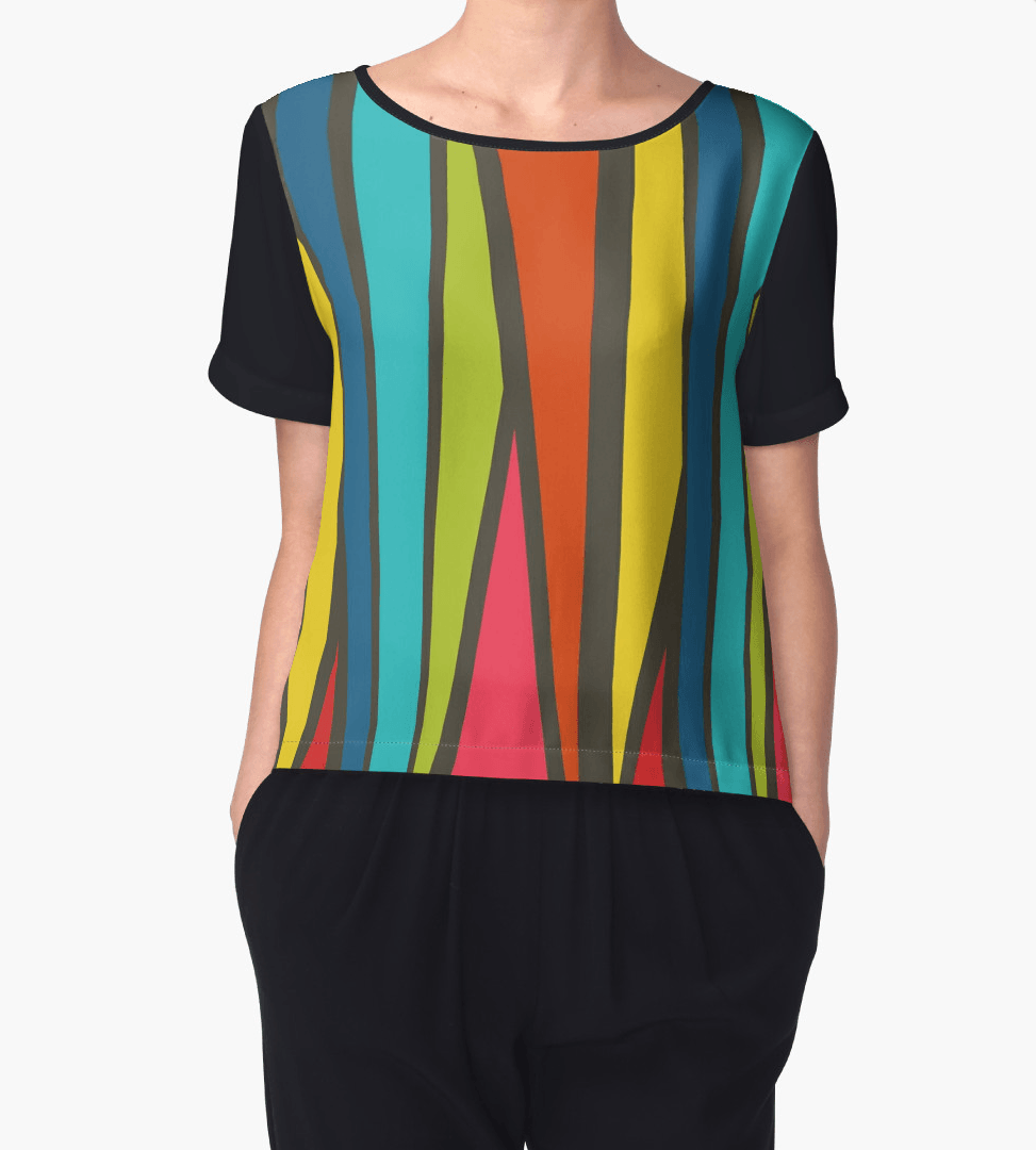 Stripes Chiffon Top - Women Blouse - Modern Clothing-TheGretest
