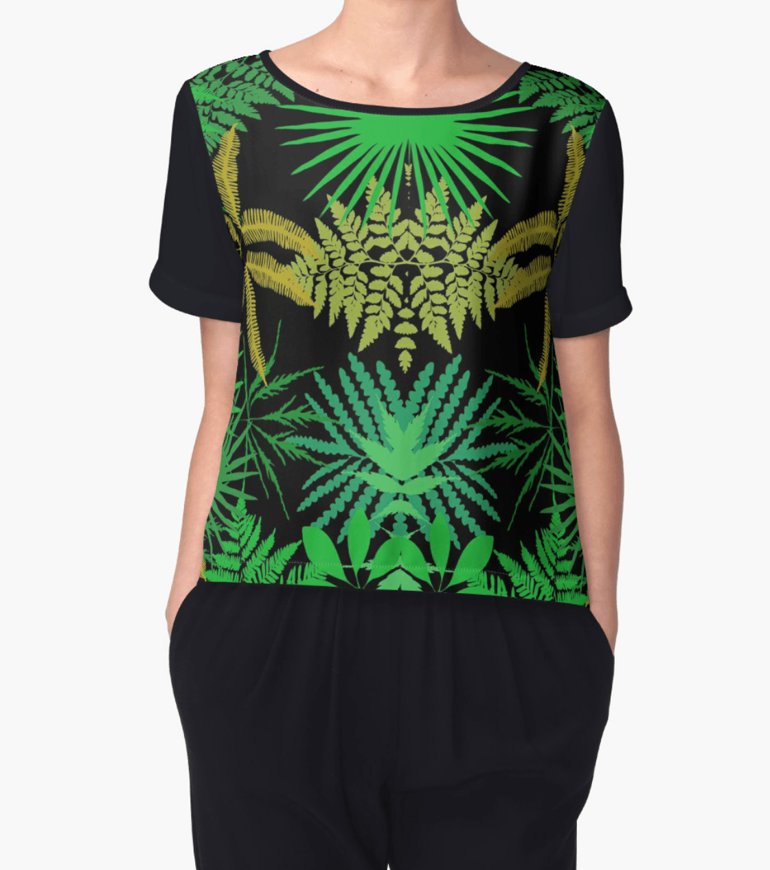 Tropical Top - Chiffon Top - Women Blouse - Modern Clothing-TheGretest