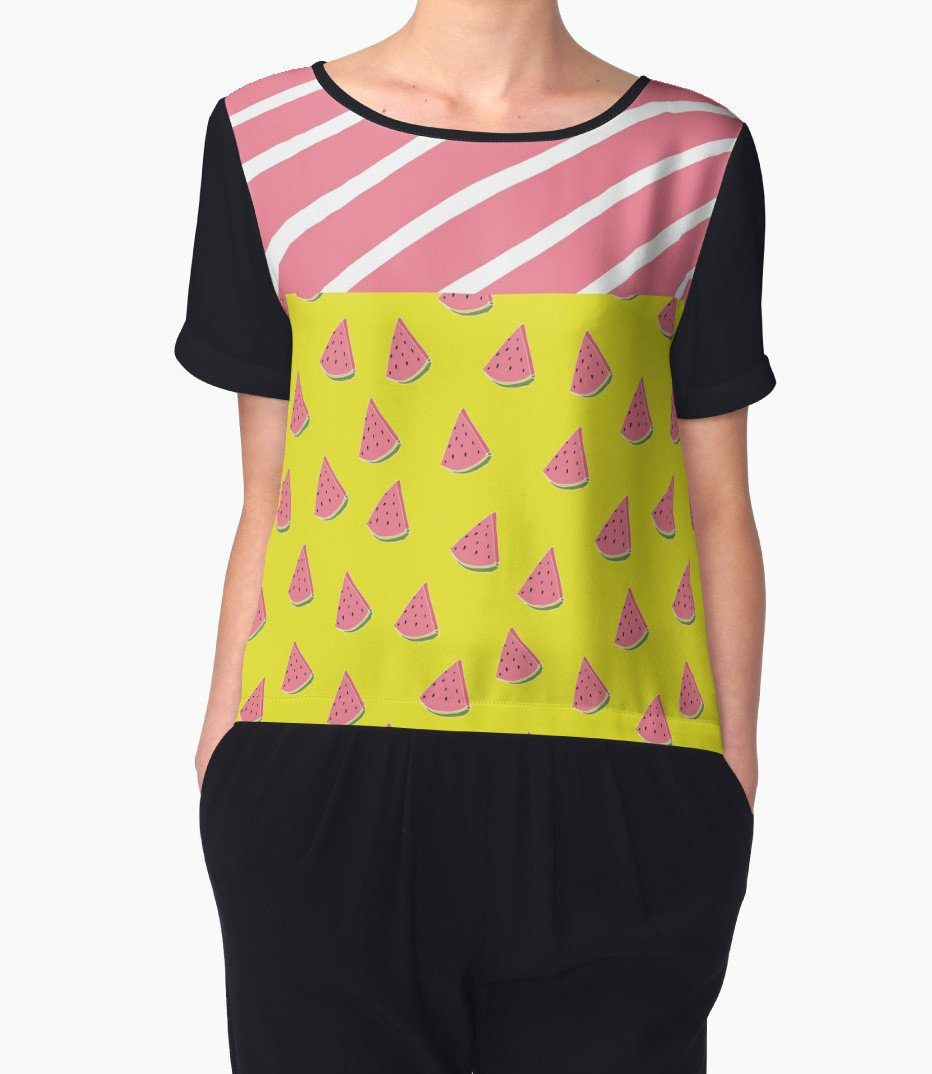 Watermelons Chiffon Top - Women Blouse - Modern Clothing-TheGretest