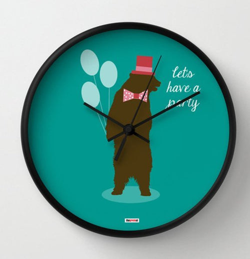 Party Bear Wall Clock