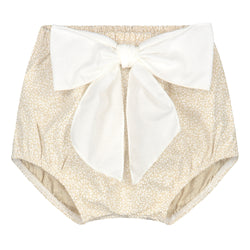 BEIGE BLOOMER WITH OFFWHITE BOW