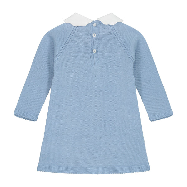 CELESTE BLUE SIGNATURE WING COLLAR KNITTED DRESS