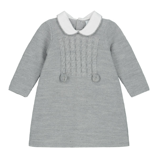 GREY KNITTED CABLE COLLAR DRESS