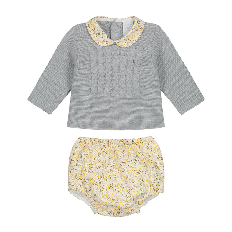 GREY KNITTED WITH FLOWERS SET