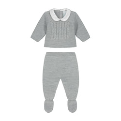 GREY NEWBORN KNITTED CABLE COLLAR SET