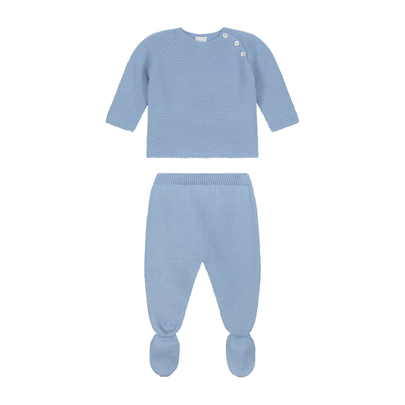 CELESTE BLUE SIGNATURE NEWBORN KNITTED WING SET