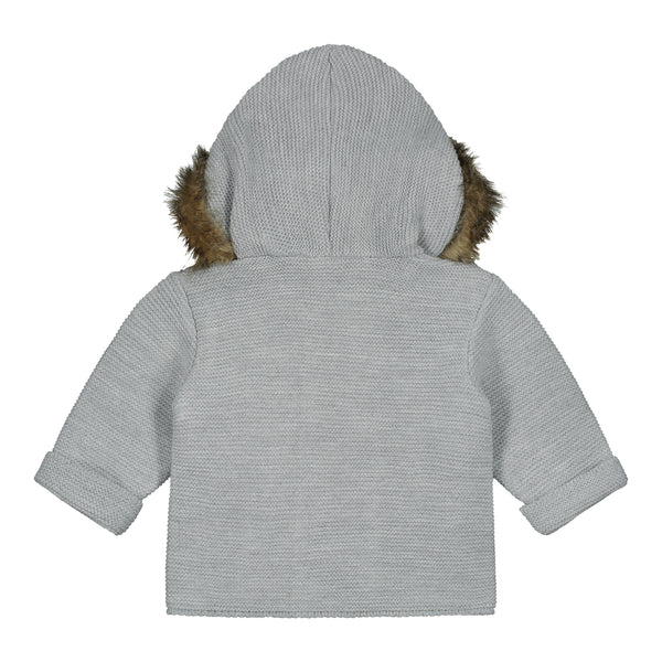 Grey FUR HOODED KNITTED CARDIGAN