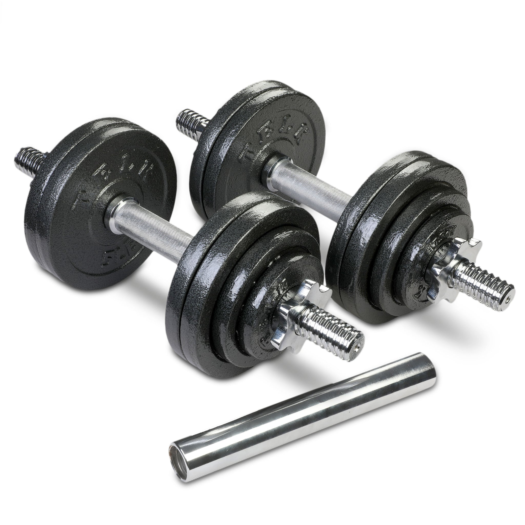 Adjustable Dumbbells 65 lbs + Bar