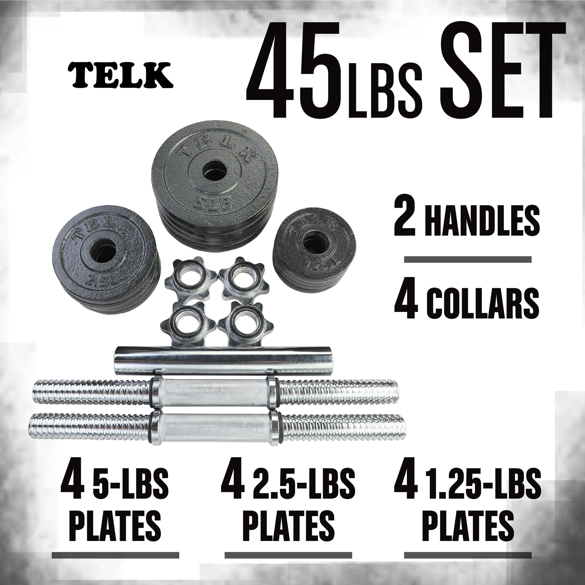 Adjustable Dumbbells 45 lbs + Bar
