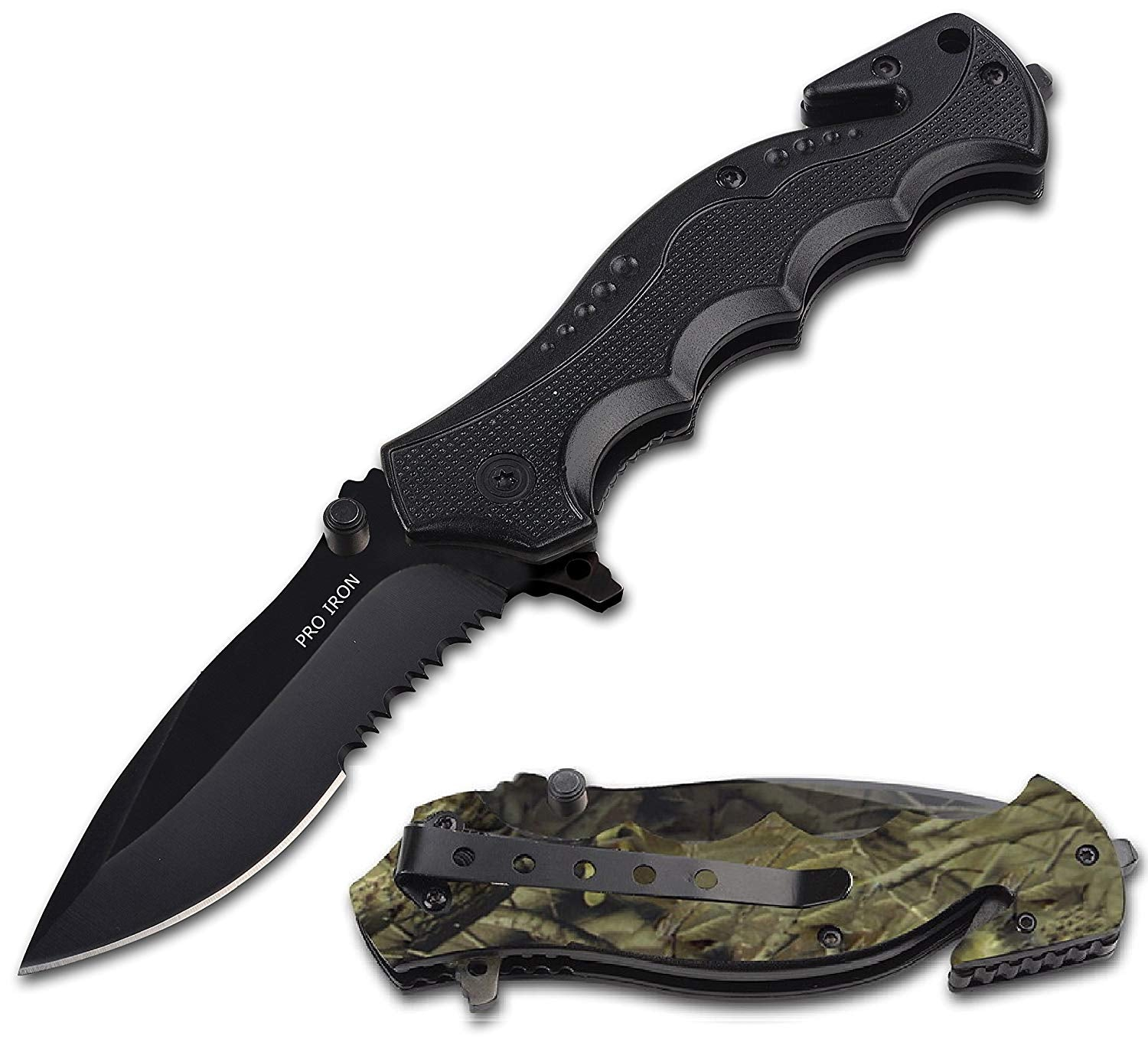 Serrated Edge Outdoor Survival Camping Hunting Knife - 2 Knives - Woodsman-Camo + Black