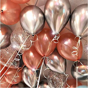 12pcs/lot Metallic Gold Silver Rose Gold Latex Balloon Wedding Valentine's Day Decoration Confetti Balloons Birthday Party Deco - Alldica