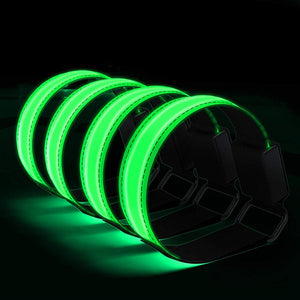 4pcs Durable LED Armbands Solid Color Portable Nylon Armbands Night LED Luminous Wristband - Alldica