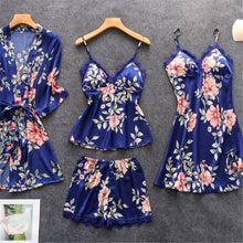 Load image into Gallery viewer, 2/3/4/5 Pcs Women's Pajamas Silk Floral Overall Print Pajama Set Satin Pyjamas Sexy Lace Pyjama Nightie Sleepwear Home Clothes - Alldica