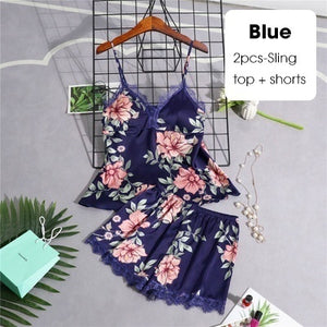 2/3/4/5 Pcs Women's Pajamas Silk Floral Overall Print Pajama Set Satin Pyjamas Sexy Lace Pyjama Nightie Sleepwear Home Clothes - Alldica