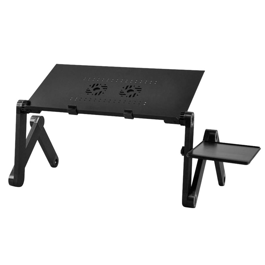 New 360 degree Folding Adjustable Laptop Computer Notebook Glossy Table Stand Bed Lap Sofa Desk Tray & Fan (Black) - Alldica