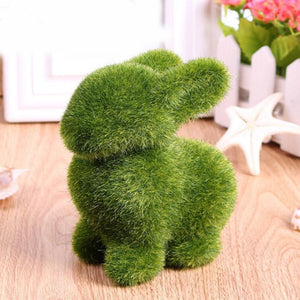 New Creative Lovely Novelty Handmade Artificial Turf Grass Animal Easter Rabbit Home Ornament Room Office Decor Gift C19041601 - Alldica