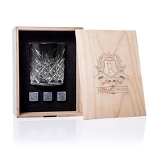Load image into Gallery viewer, Personalized Whisky Glass Set with Whiskey Stones and Personalized Wood Box. Custom Bourbon Glass Best Man Gift. Great Gift for Groomsmen. - Alldica