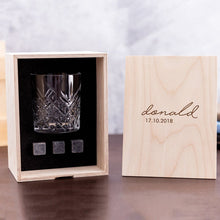Load image into Gallery viewer, Personalized Whisky Glass Set with Whiskey Stones and Personalized Wood Box. Custom Bourbon Glass Best Man Gift. Great Gift for Groomsmen.