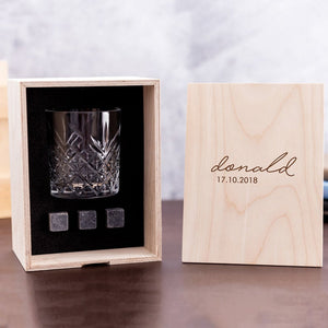 Personalized Whisky Glass Set with Whiskey Stones and Personalized Wood Box. Custom Bourbon Glass Best Man Gift. Great Gift for Groomsmen.