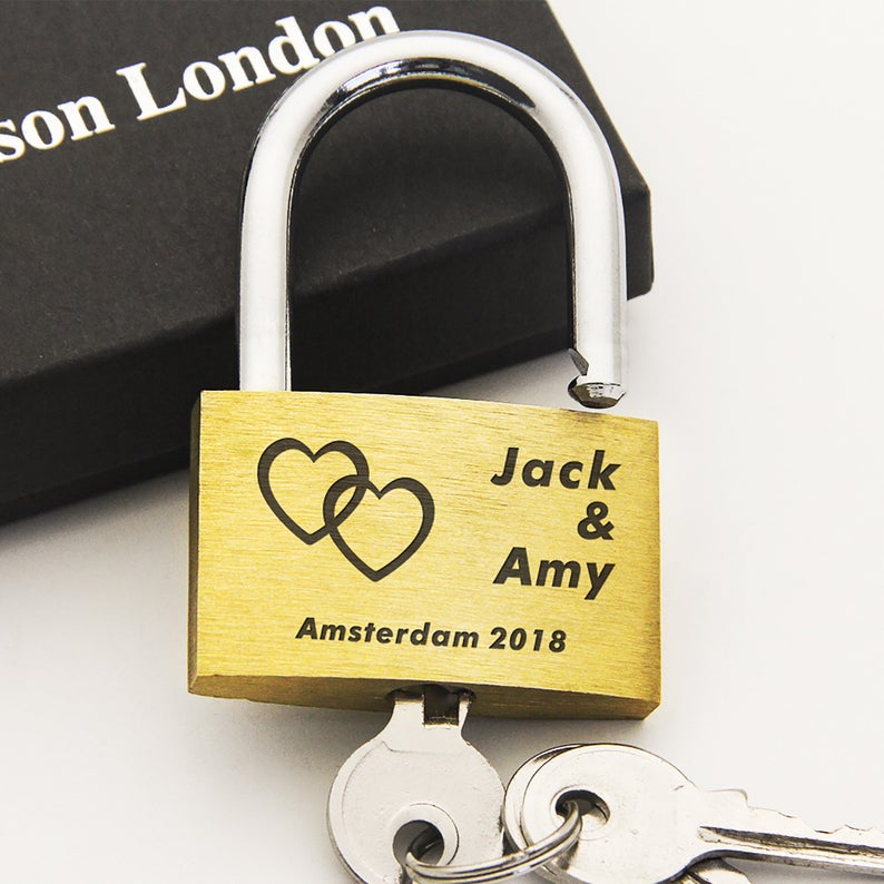 Wedding | Annivesary Gift | Present Love Lock Personalised Engraved Padlock - Alldica