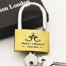 Load image into Gallery viewer, Wedding | Annivesary Gift | Present Love Lock Personalised Engraved Padlock - Alldica