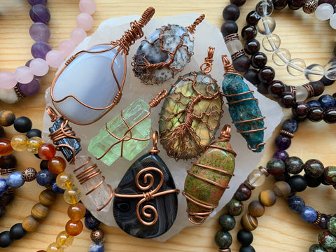 Crystal Jewelry Wrapped in Copper