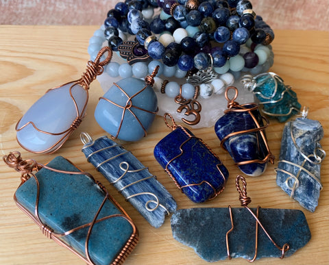 Blue Crystal Jewelry for Tranquility, Self-Expression, and Trust