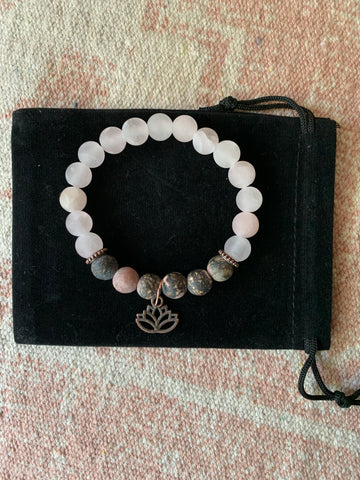 Large Rose Quartz with Rhodonite Bracelet