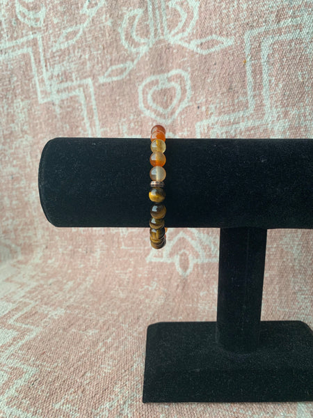 Large Tiger's Eye with Carnelian Bracelet