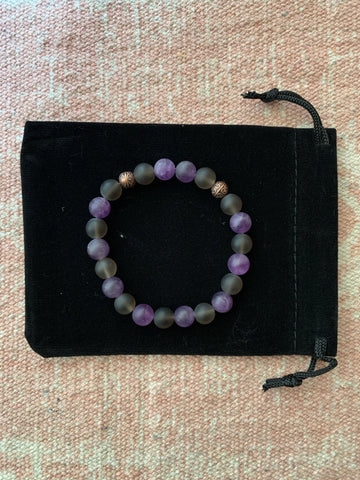Smoky Quartz with Amethyst Bracelet
