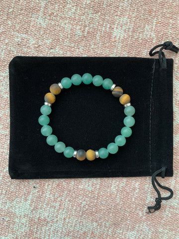 Large Green Aventurine with Tiger's Eye Bracelet