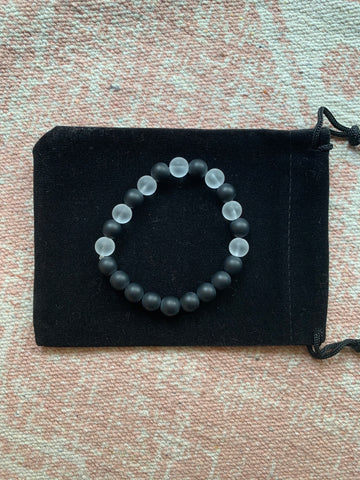 Onyx with Clear Quartz Bracelet
