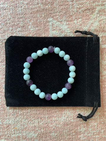 Amazonite with Amethyst Bracelet
