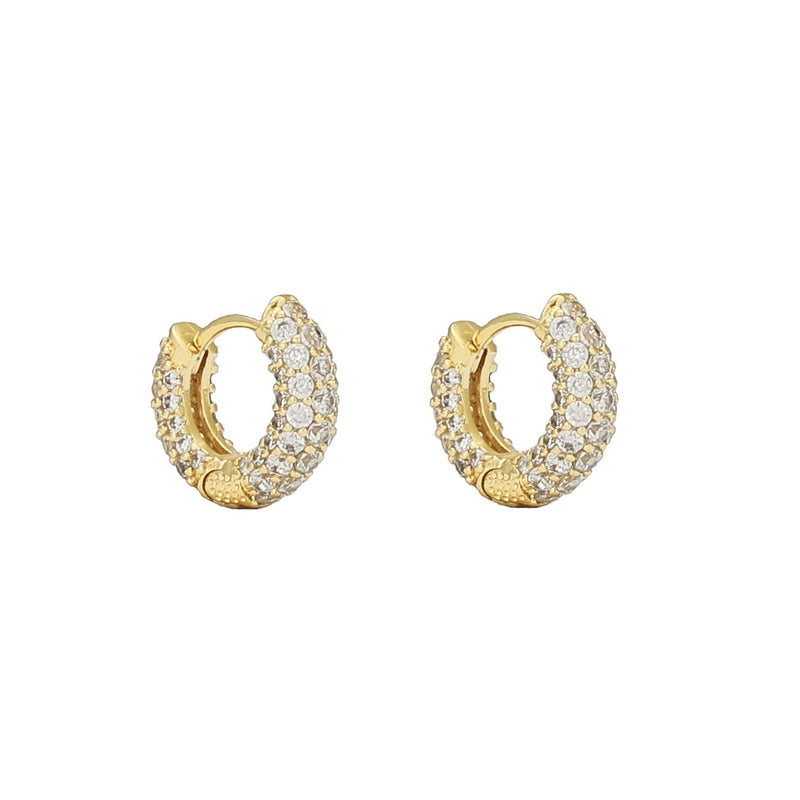 The Gold Pave Huggie Earrings