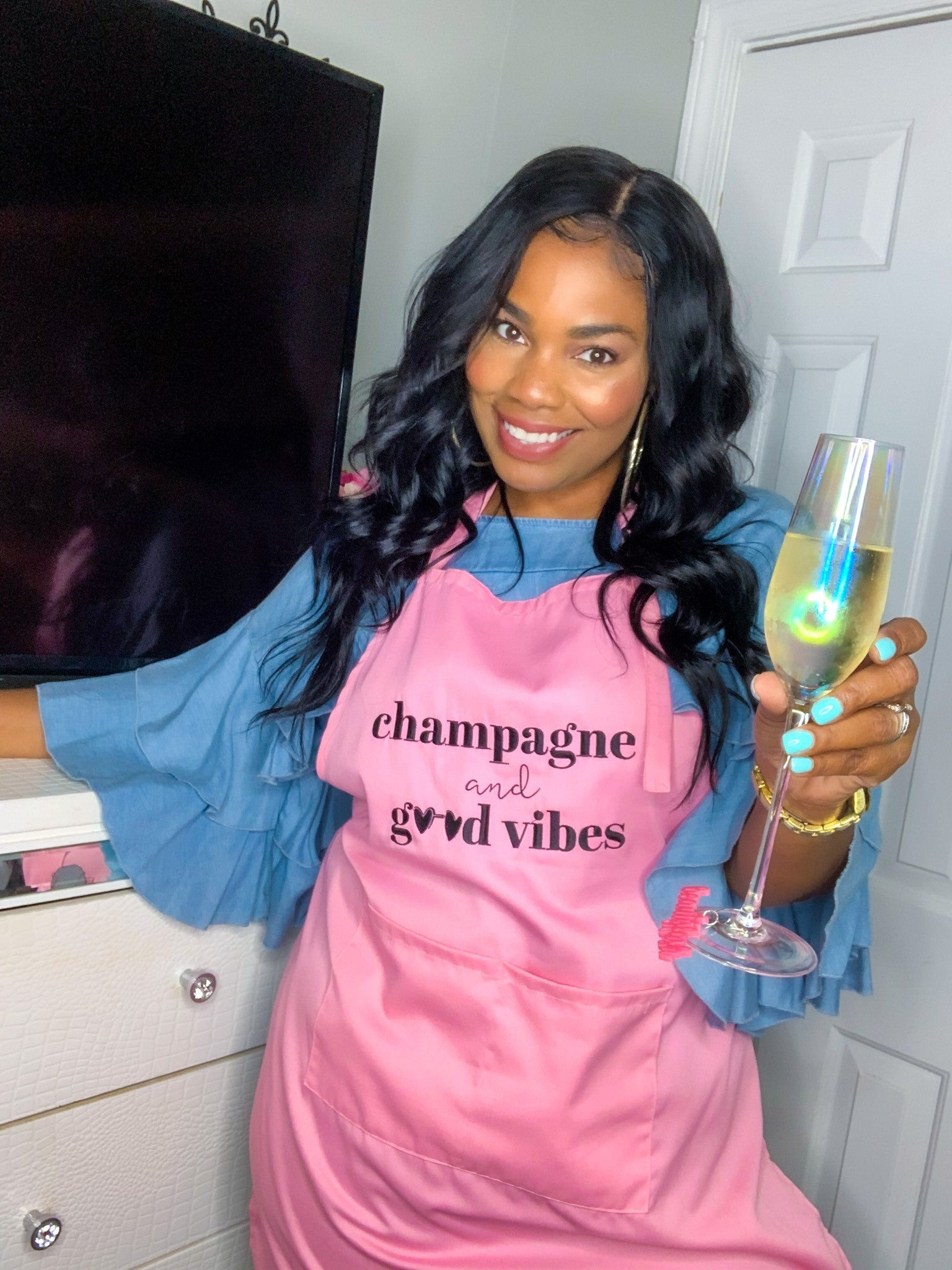 """Champagne and Good Vibes"" Pink Apron"