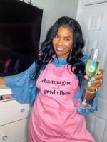 "Load image into Gallery viewer, ""Champagne and Good Vibes"" Pink Apron"