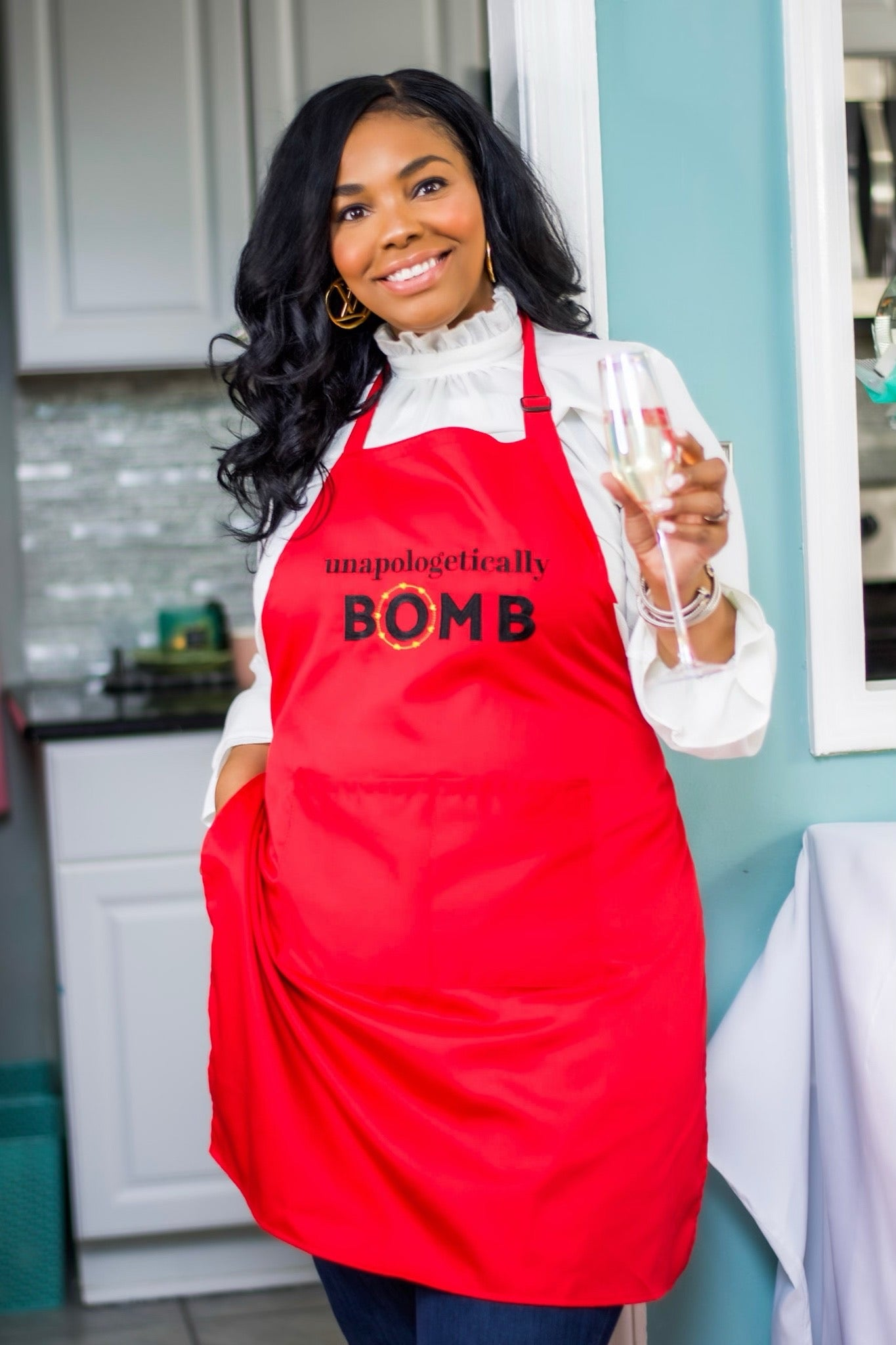 """Unapologetically Bomb"" Red Apron"