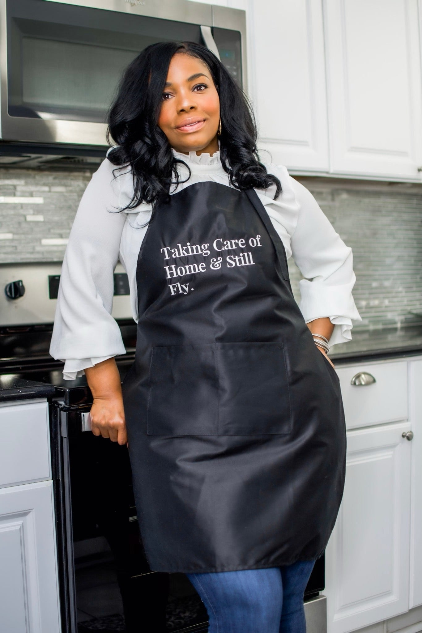 """Taking Care of Home"" Black Apron"