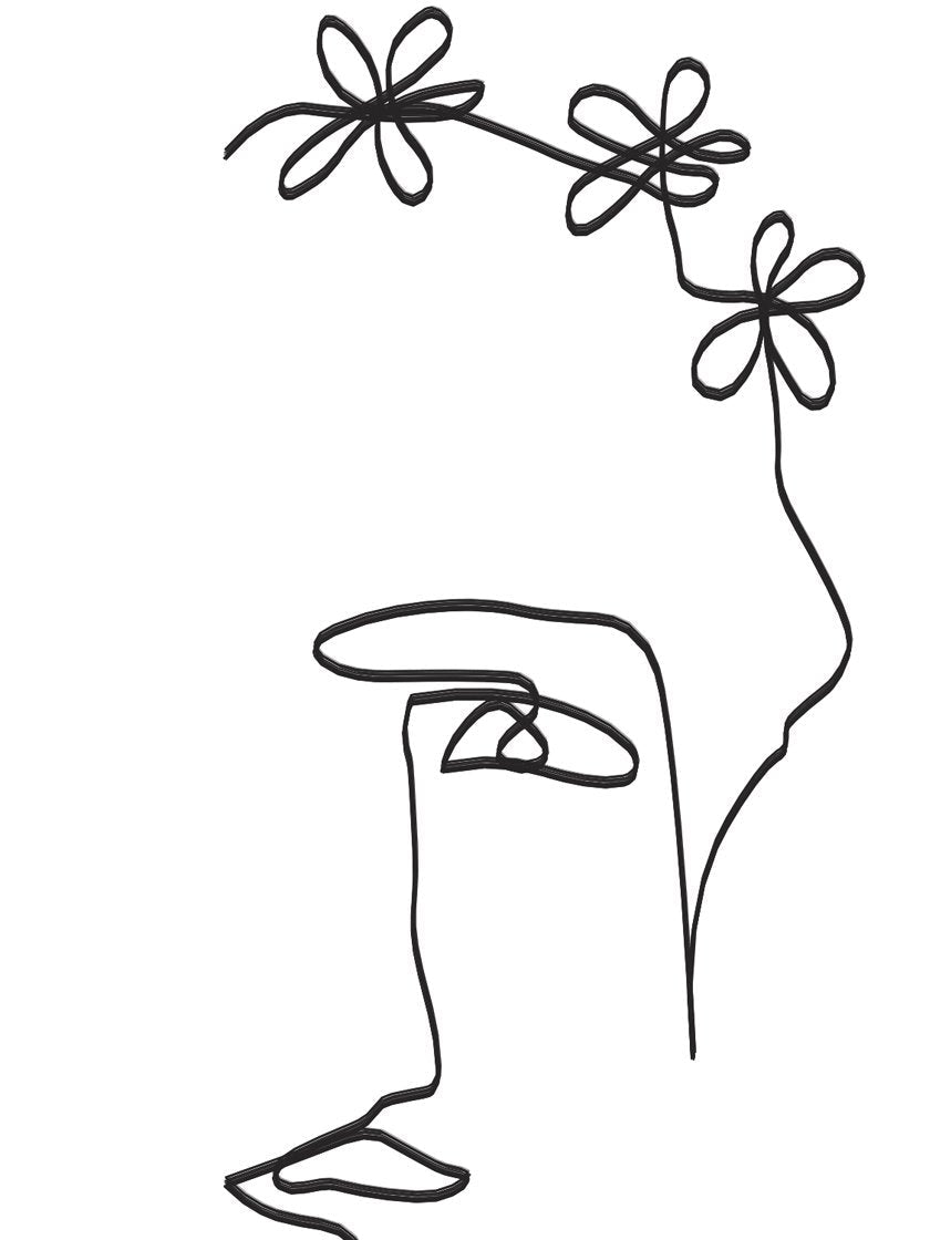 flower-lady-single-line-art-poster-closeup