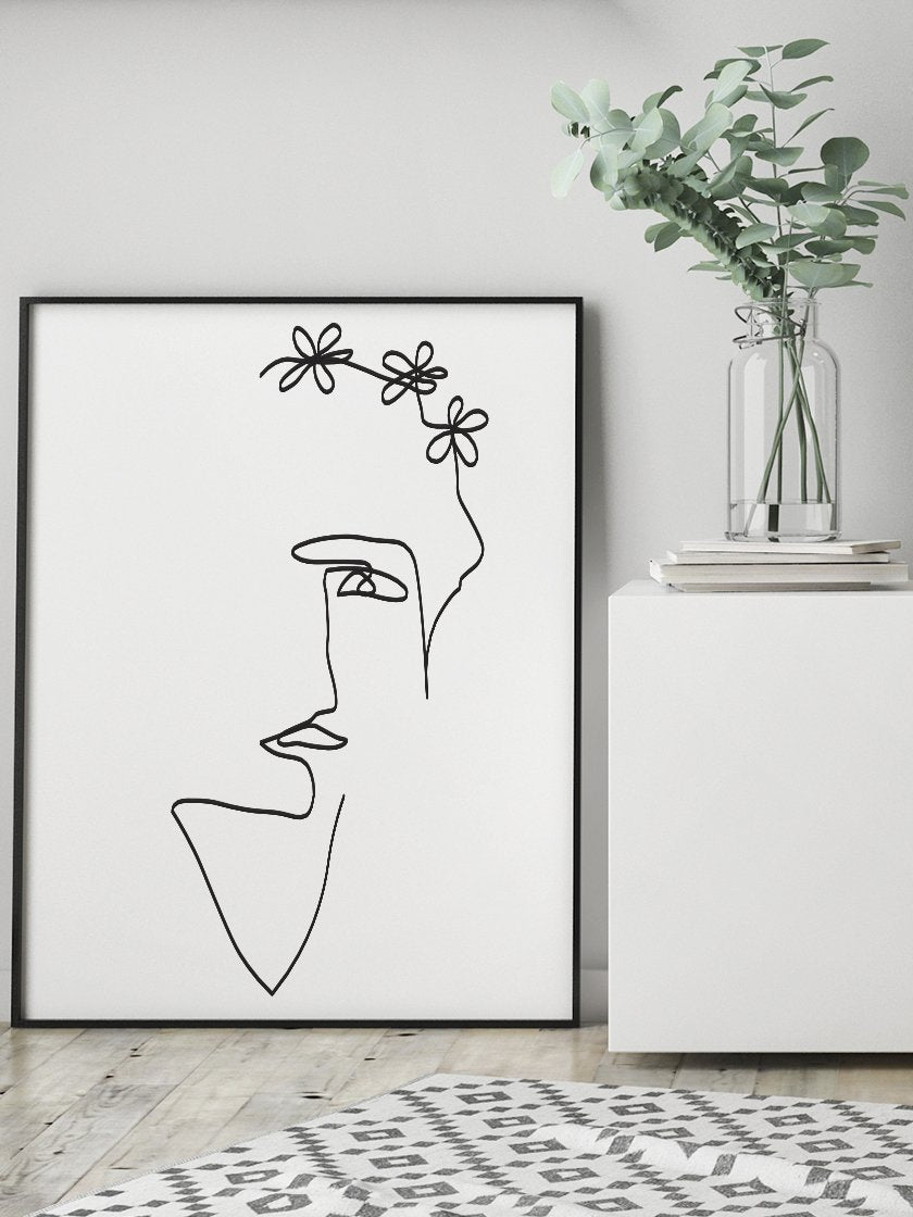 flower-lady-single-line-art-poster-in-interior