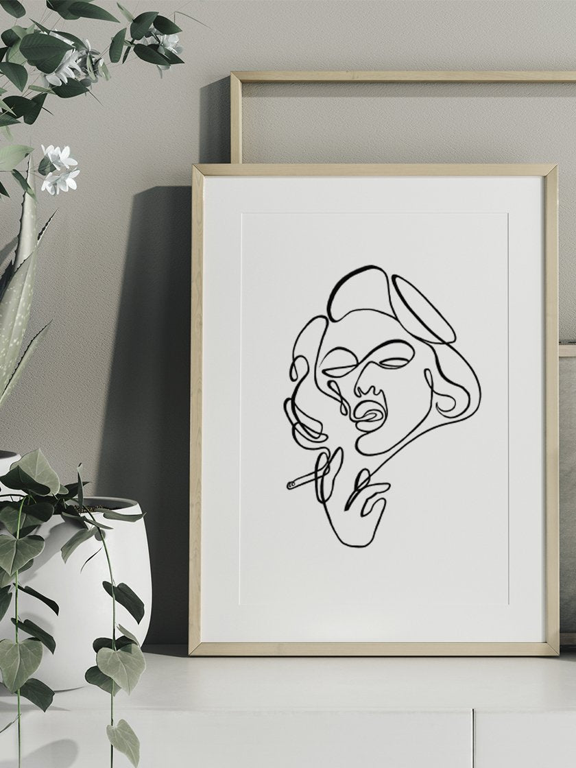 project-nord-line-art-smoking-lady-poster-in-interior