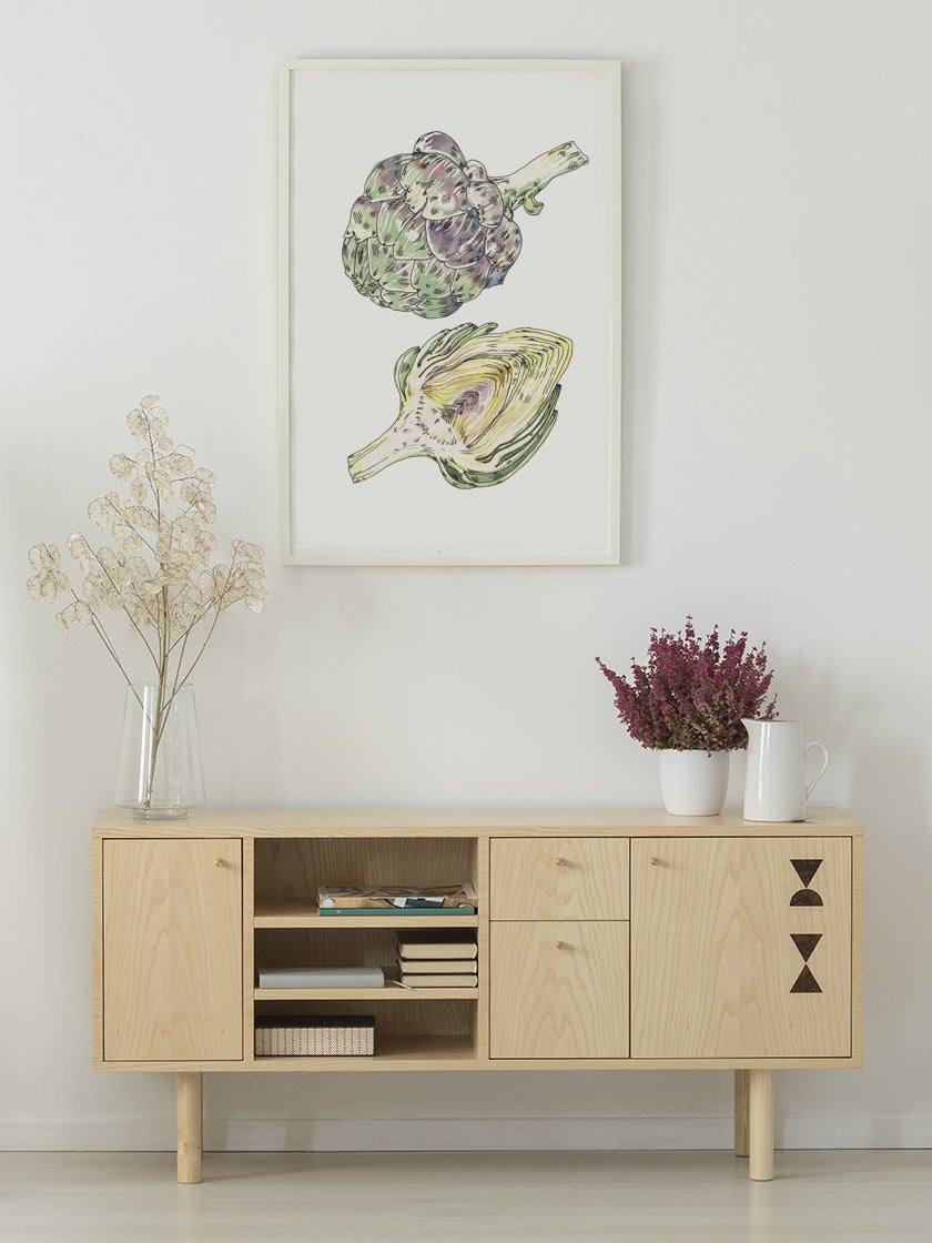 vintage-hand-painted-artichoke-poster-in-interior-hallway